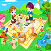 Three friends at the picnic design